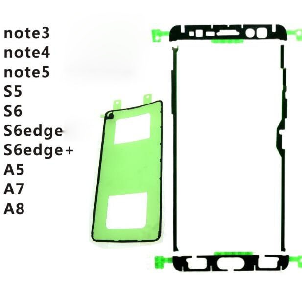 Nuevo juego completo Lcd frontal etiqueta + tapa de la batería pegamento adhesivo a ver si durante Samsung note3 4 5 A5 7 8 s5 S6 edge +