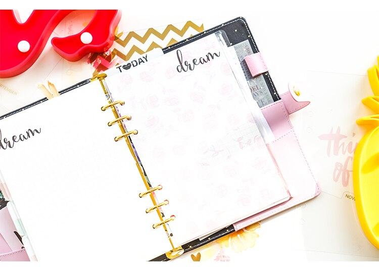 KSCRAFT 6 Holes A6 Hello Dream Transparent Planner Divider Loose Leaf Notebook Spiral Planner Refill Inner PVC Pages