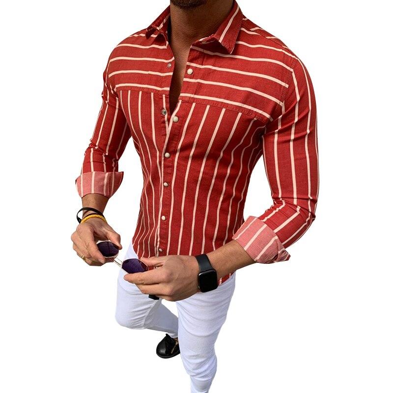 ¡Novedad! camisas ajustadas de manga larga para hombre, blusas de manga larga con solapa abotonada, blusas de algodón para negocios y músculo para verano de talla grande 3XL