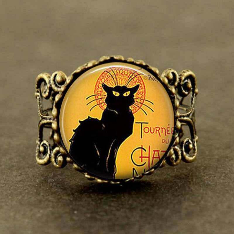 Vintage le chat noir arte anel preto gato longo jóias steampunk homens corrente feminino encantos bonito anel