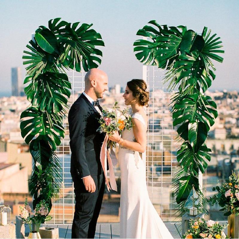Artificial de hojas de palma Tropical de verano bosque tema selva suministros de jardín familiar decoración para fiesta de boda