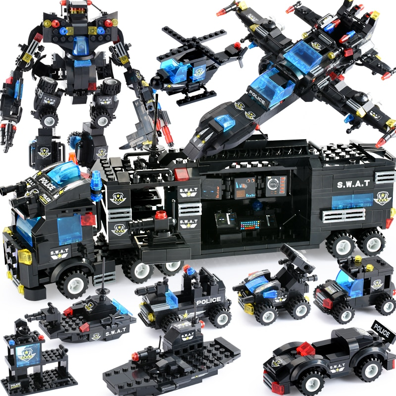 qunlong military helicopter building blocks toy compatible legoe city police swat toy for boy compatible lepin starwars figure 725PCS City Police Series Blocks City DIY 8 in 1 Vehicle Car Helicopter Building Blocks Construction Bricks Toy For Children