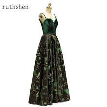 ruthshen 2018 New Vintage Vestidos De Gala Largos Spaghetti Strap Velour Prom Dresses Long Party Gowns Formal Prom Dress