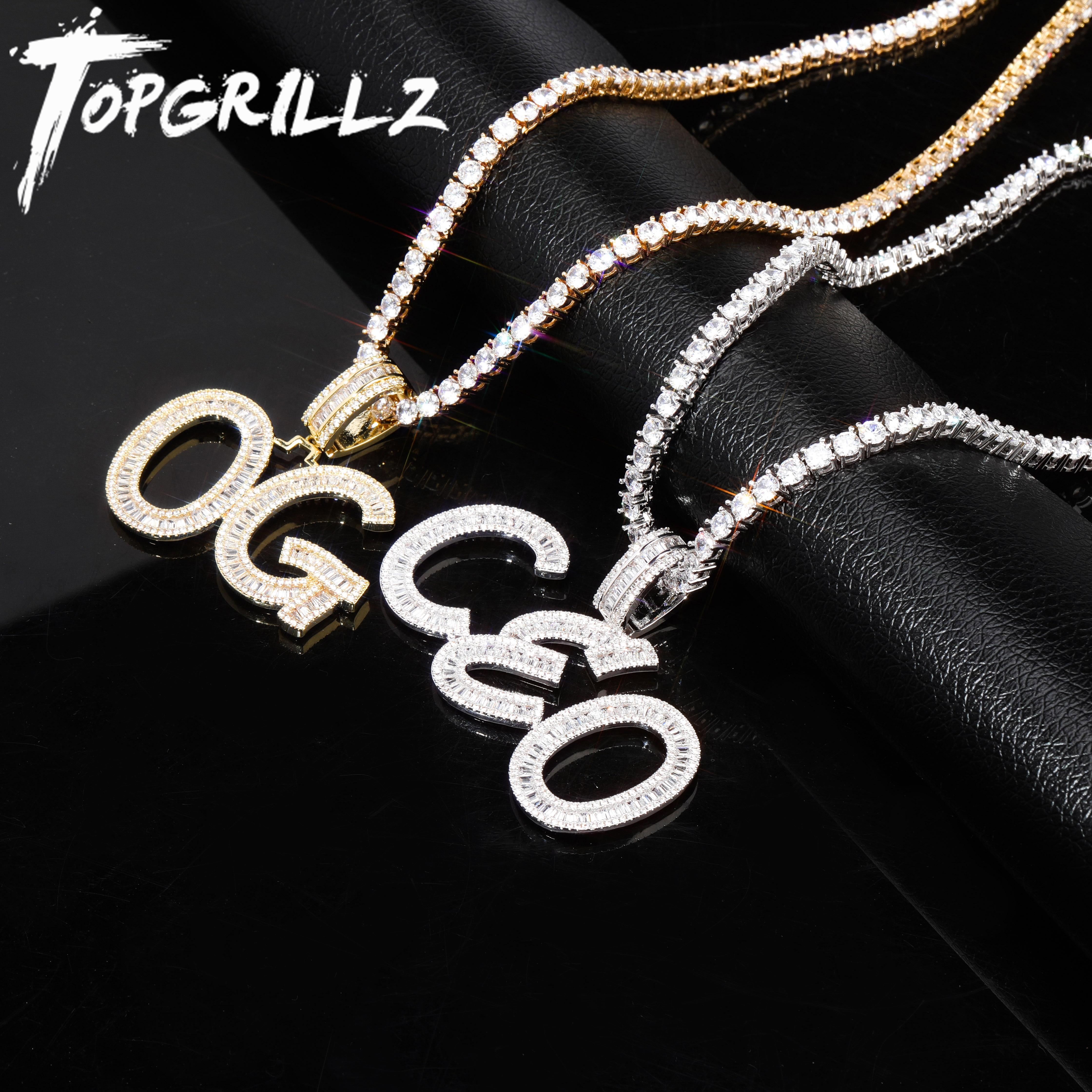 TOPGRILLZ Custom Name Baguette Stone Letters Hip Hop Pendant Chain Gold Silver Bling Zirconia Men's Hip Hop Pendant Jewelry