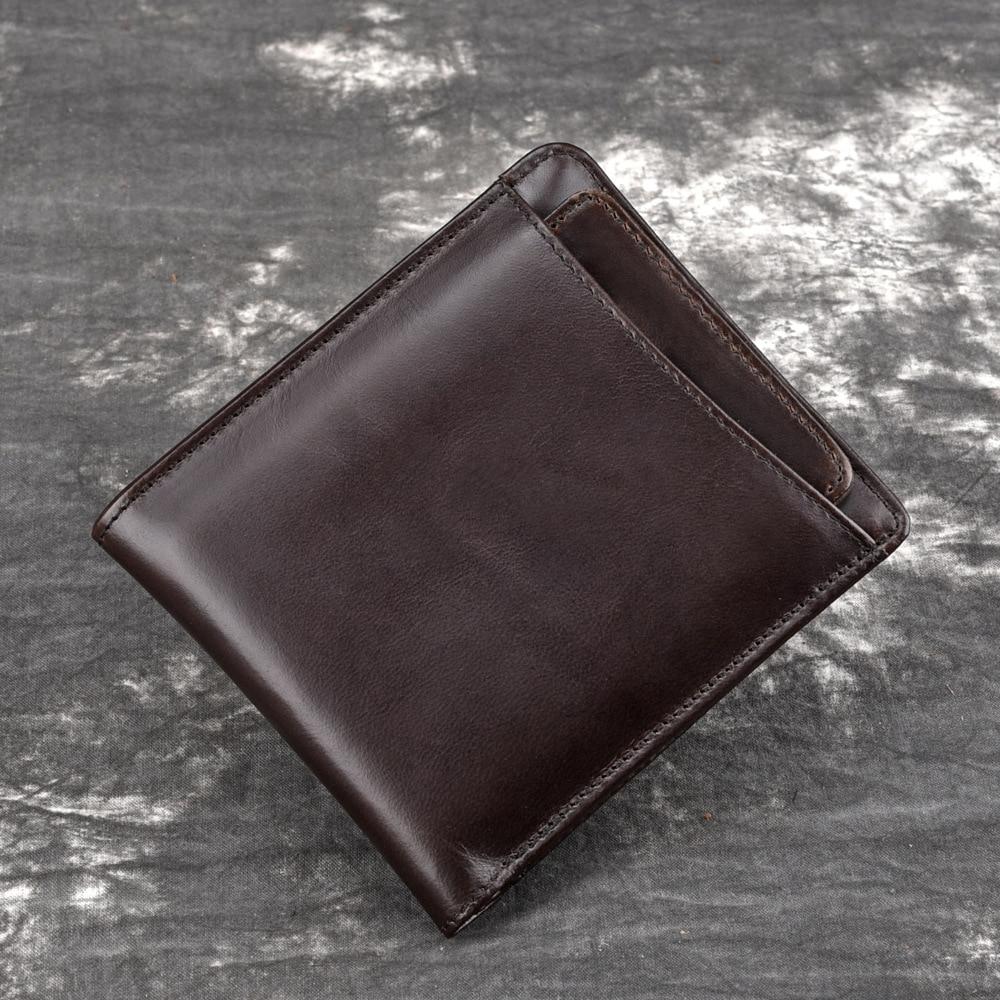 Natural Skin Men Short Purse Money Bag Coin Pocket Cash Retro Casual Male Multi-Cards Holder Genuine Leather Bifold Wallet