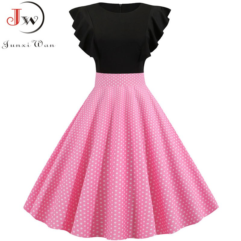 Elegant Dot Vintage Dress Summer Women Petal Sleeve High Waist Pink Midi Party Dress Casual 2019 Rockabilly Vestidos Robe Femme