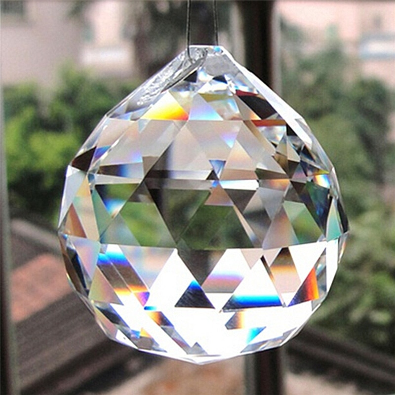 Cristal facetado transparente de 20mm, Prisma de bola de cristal, Araña de cristal, piezas de cristal, lámpara colgante, atrapamoscas de bola más reciente