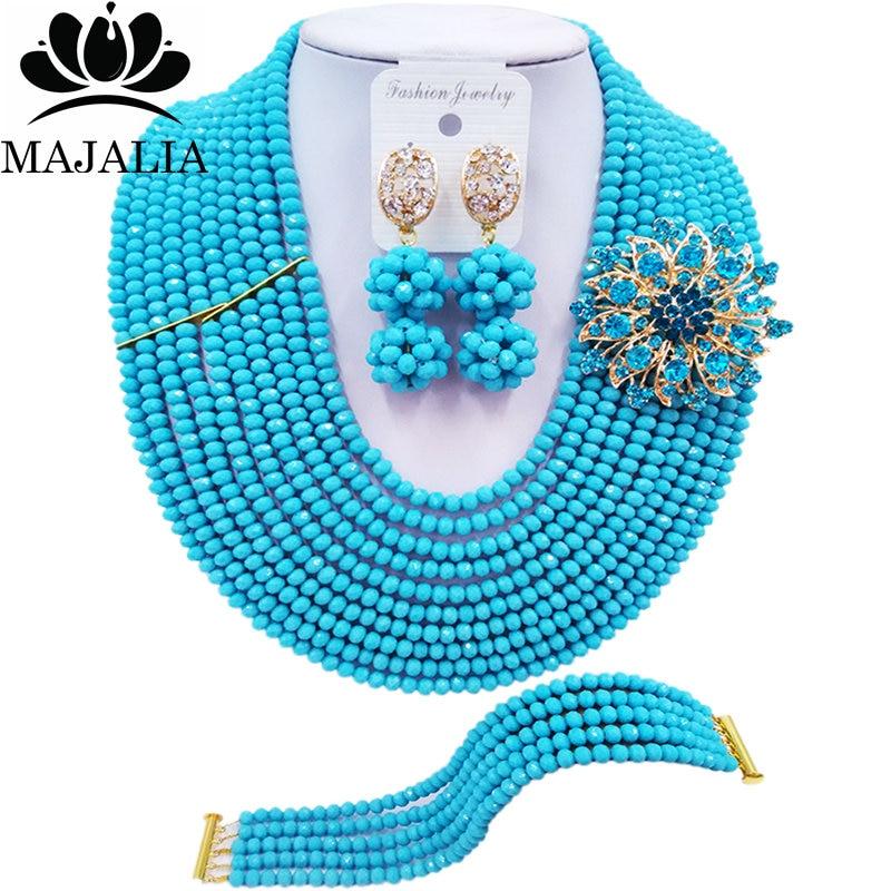 Majalia модный нигерийский Свадебный комплект ювелирных изделий с африканскими бусинами, ожерелье с голубыми кристаллами, наборы свадебных юв...