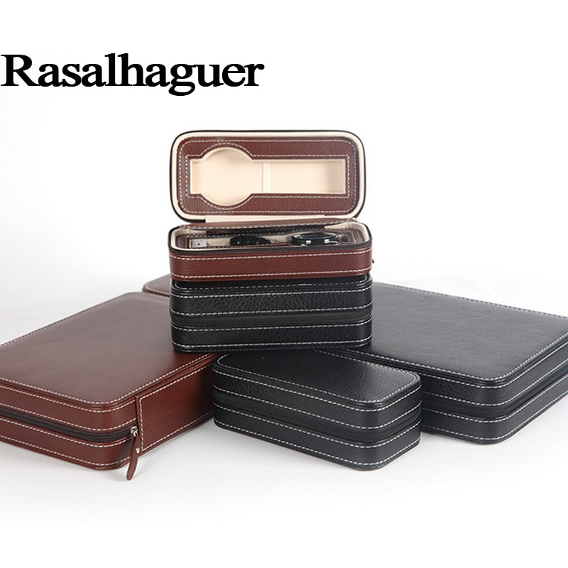 Free Shipping Luxury 4 Grids Leather Watch Jewelry Box Organizer Box Zipper style travel storage Jewelry Watch Collector Cases luxury organizer black leather square pocket watch box foam pad inside watches gift boxes for men womens watch jewelry storage