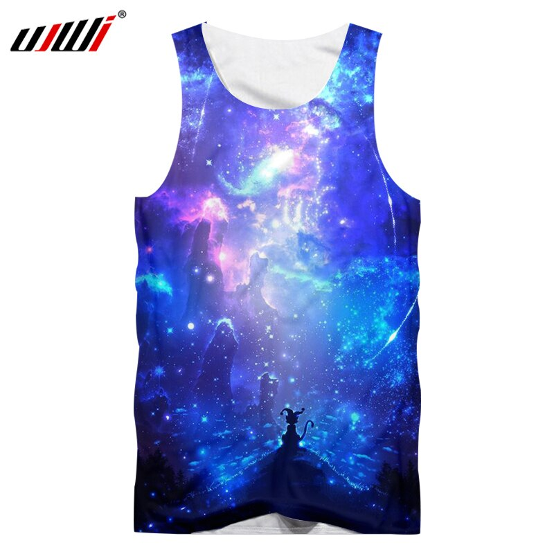 UJWI Man Singlet Summer Tops 3D Print Blue Galaxy Space Tank Tops Hombre Slim Fit Bodybuilding Fitness Casual Undershirt