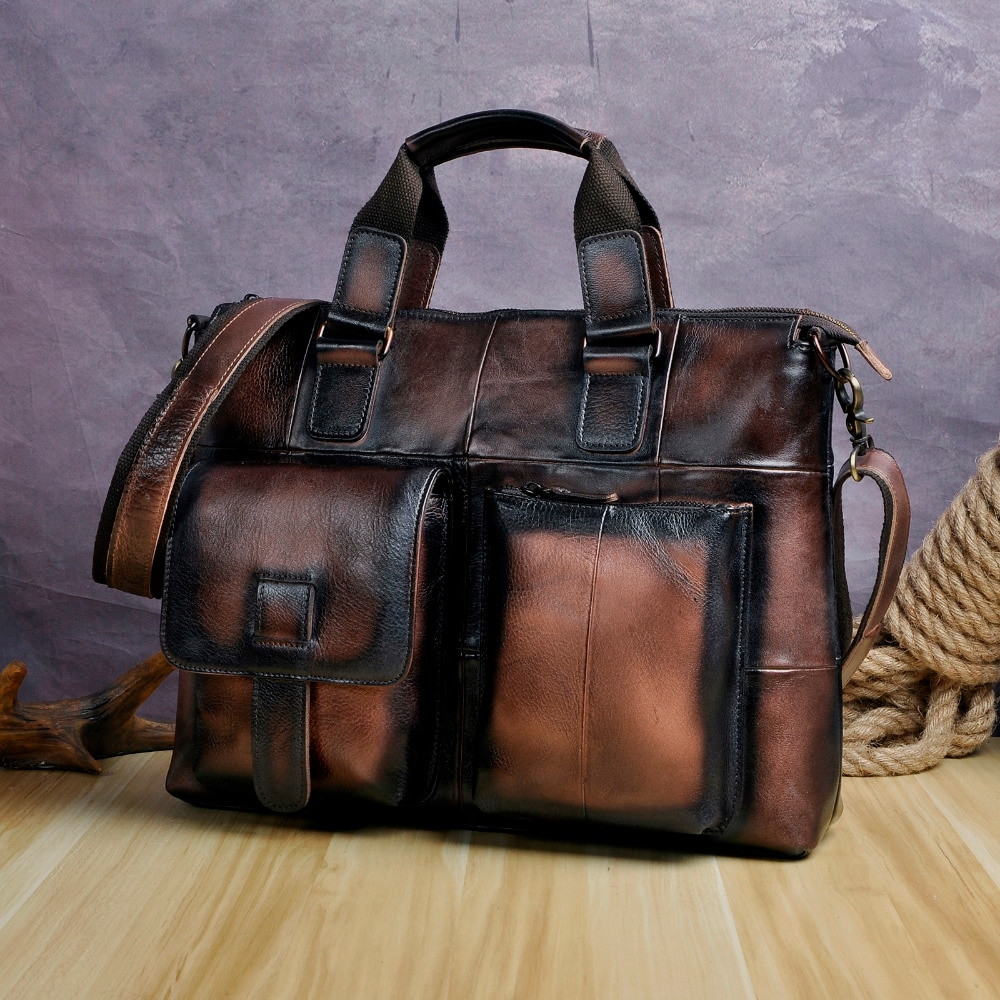 حقيبة أعمال جلدية أصلية للرجال ، حقيبة كمبيوتر محمول غير رسمية مقاس 15 بوصة ، حقيبة سفر ، محفظة B260