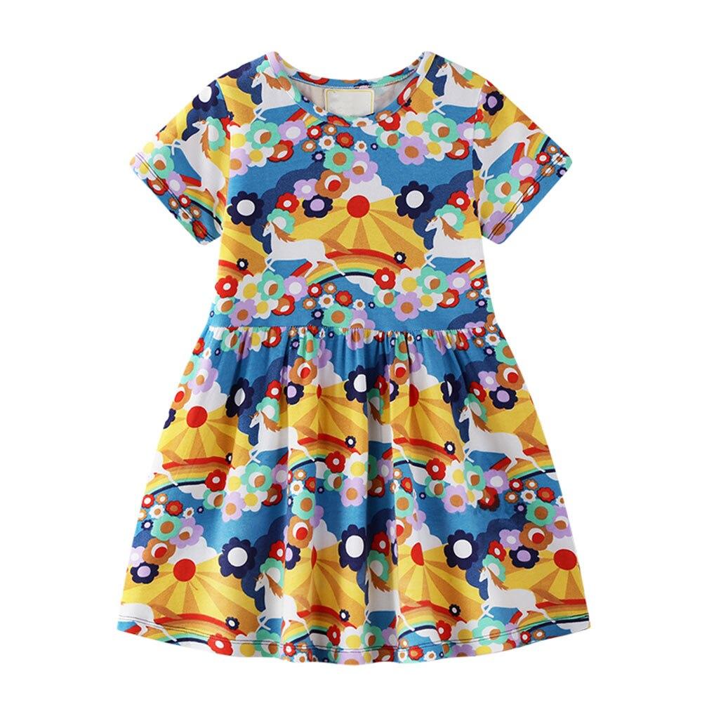 Vestidos de bebé Niñas Ropa niños vestidos de ropa de playa de algodón Niña traje a rayas Animal patrón princesa dinosaurio vestido
