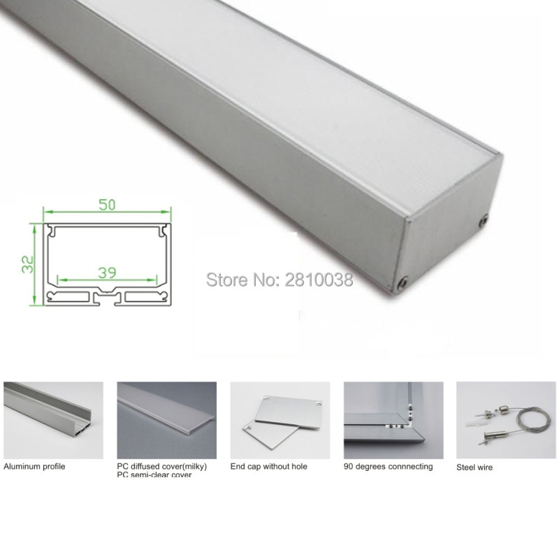 100 X 1M Sets/Lot factory supplier aluminum profile for led and Al6063 U-shape alu led extrusion for ceiling or Pendant light