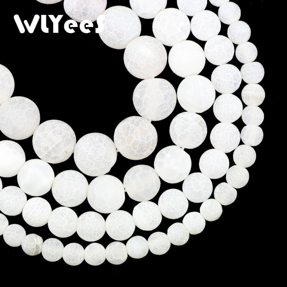 WLYeeS, piedra Natural blanca redonda, cornalina desgastada, 6 8 10 12mm, cuentas sueltas para la elaboración de collar y brazaletes, accesorio DIY