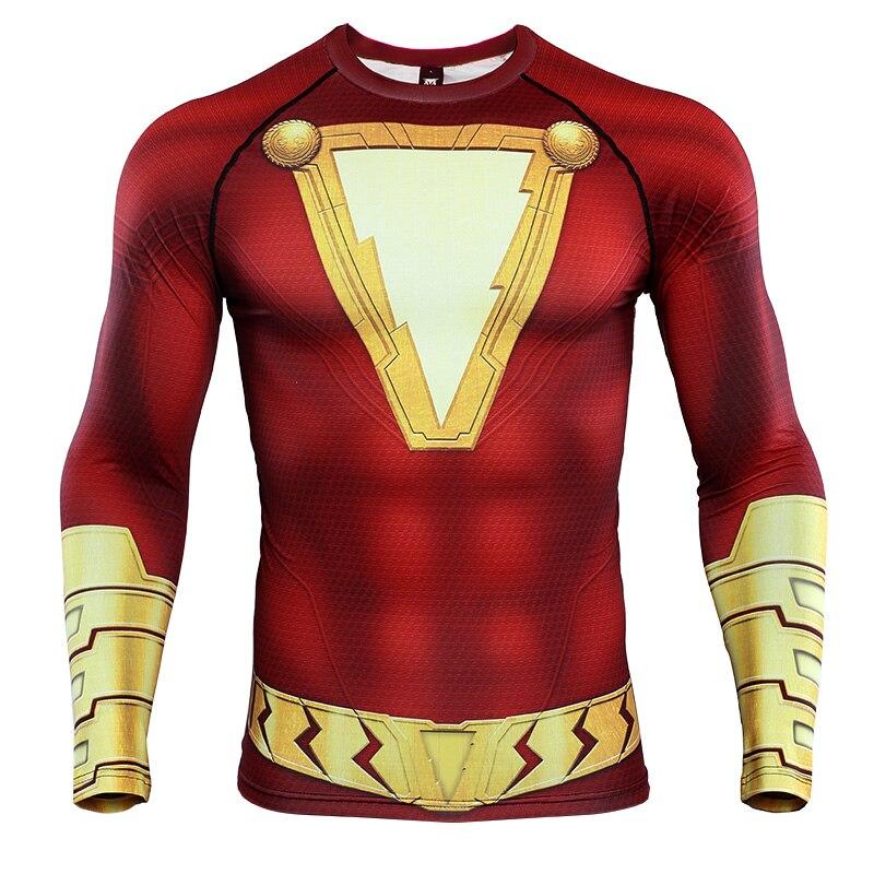 Shazam, camisetas impresas en 3D, camisas de compresión para hombres, manga raglán, 2019, el diseño más nuevo, camisetas de cómic, cómics para hombres, ropa de traje Cosplay