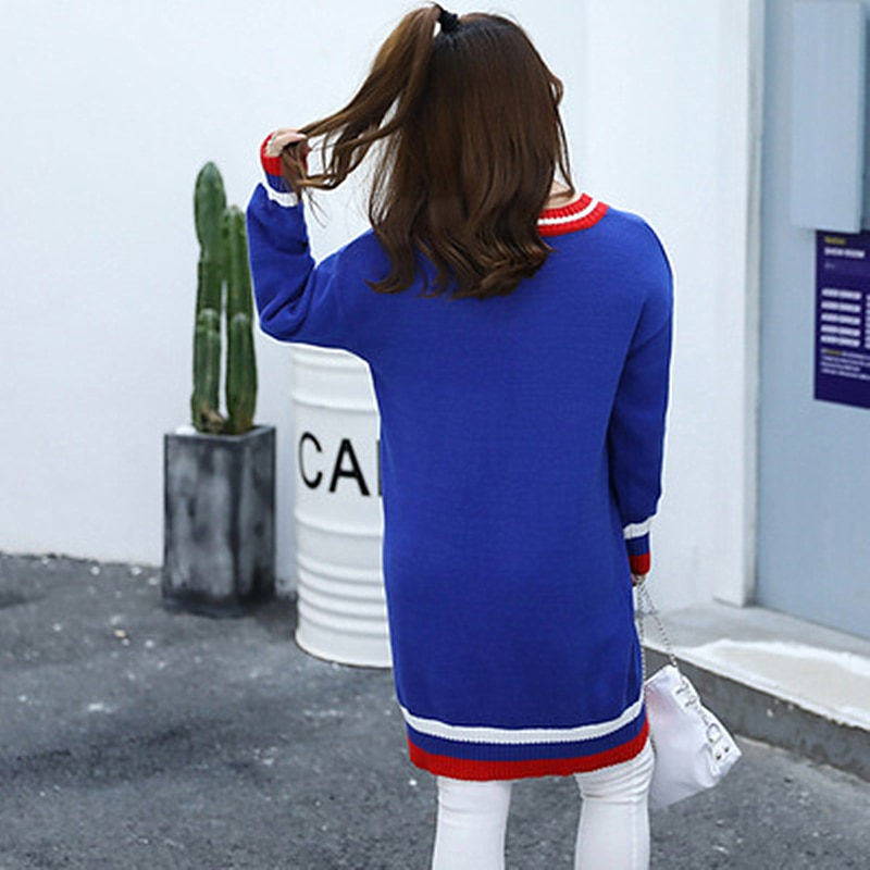 Autumn And Winter New Fat Sister MM Korean Casual Sweater Loose Tibetan fleshy Shirt Contrast Color Fashion Loose Large Size enlarge