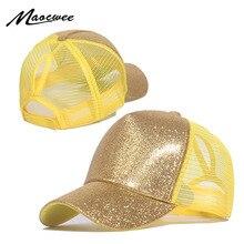 Casquette de Baseball queue de cheval pour femme   Casquette ajustable à paillettes, casquette scintillante, Hip Hop pour femme, chapeau de papa, chapeaux dété à paillettes