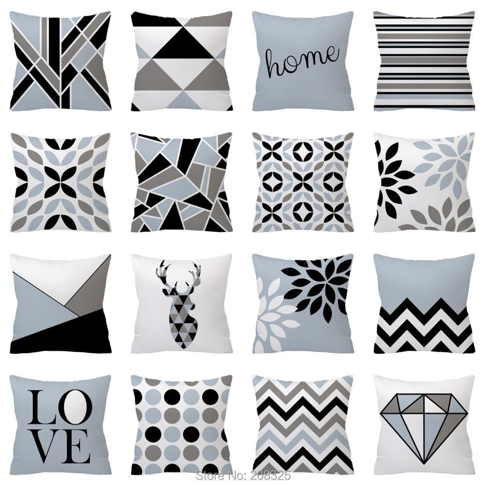 ZENGIA чехол для подушки с Северными мотивами полиэстер серый геометрический наволочка для дивана декоративные подушки 45*45 домашний декор декоративные подушки