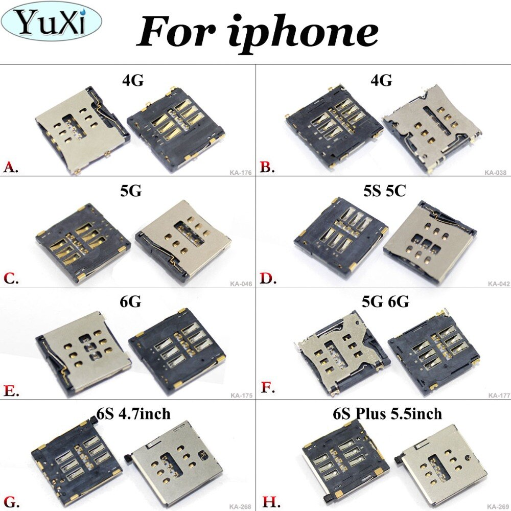 "YuXi para iphone 4G 5G 5S 5C 6G Sim soporte de lector de tarjeta ranura bandeja enchufe para iphone 4 5 5S 5C 6 6G 6S 4,7 ""S 6 PLUS 5,5"" Sim Reader"