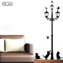 Home Decoration 4 Little Cat Under Street Lamp DIY Wall Sticker Wallpaper Art Decor Mural Room Decal Adesivo De Parede Stickers