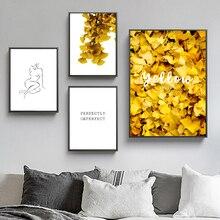 Líneas de hojas de Ginkgo doradas, cuadro sobre lienzo para pared nórdico abstracto, pósteres e impresiones, imágenes de pared para sala de estar