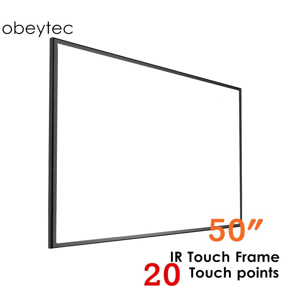 "Obytec 50 ""ir touch frame, 20 toques, driver livre para windows/linux/android/mac os"