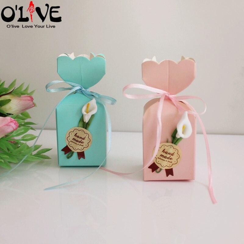50 Pcs Vaso Forma de Caixa de Presente Doces Embalagem Caixas Bonbonniere Casamento Calla Favores Do Partido Do Chuveiro Do Bebê Da Menina do Menino Decoração De Aniversário