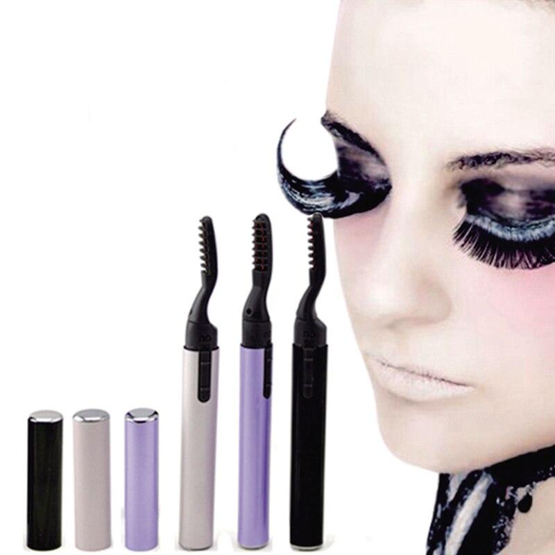 Rizador de pestañas en caliente, brochas de maquillaje, pestañas duraderas largas, pestañas calientes, rizador de pelo, herramienta de maquillaje de rizo automático