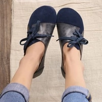 2018 spring new original handmade vintage leather womens shoes round head flat belt with soft bottom literary sen single shoes