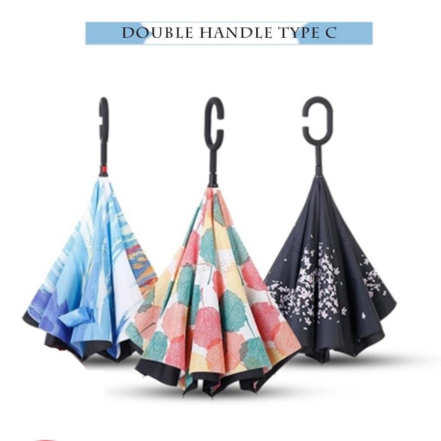 Grande guarda-chuva reverso dobrável guarda-chuva chuva feminino arte dupla camada invertida unbrella corporation presente dos homens bonito van gogh paraplu