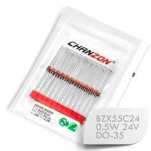 (100 Pcs) BZX55C24 BZX55C24V (1N5252B) zener Diode 0.5 W 24 V DO-35 (DO-204AH) 0.5 Watt 24 Volt IN5252B 1N5252