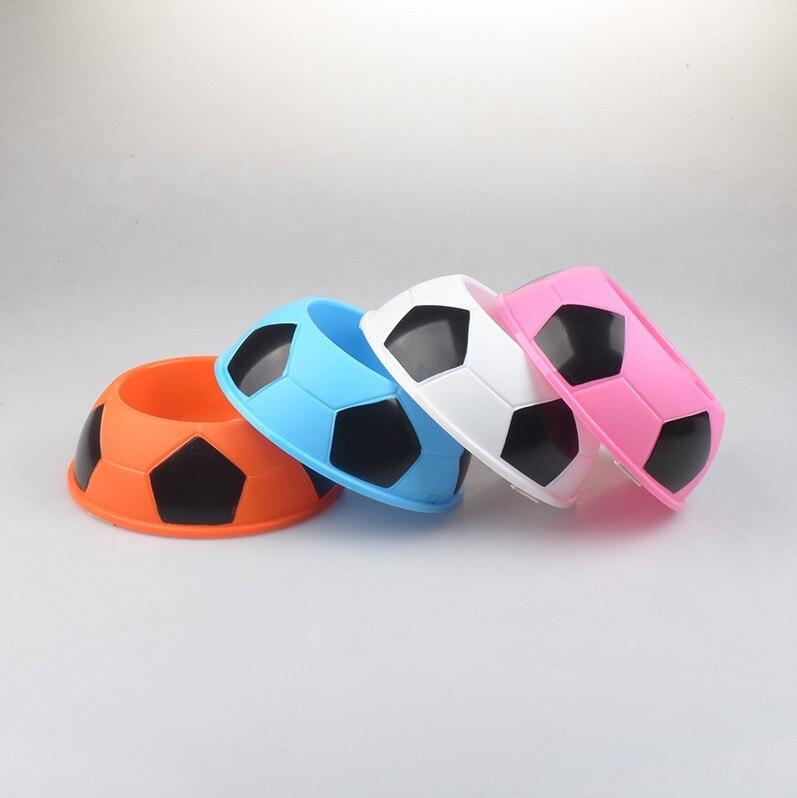 ¡Novedad! cuenco de comida de plástico para perros de compañía G46, Tazón de fútbol de colores para caramelos, plato redondo, tazones de alimentación para agua potable para perros y gatos