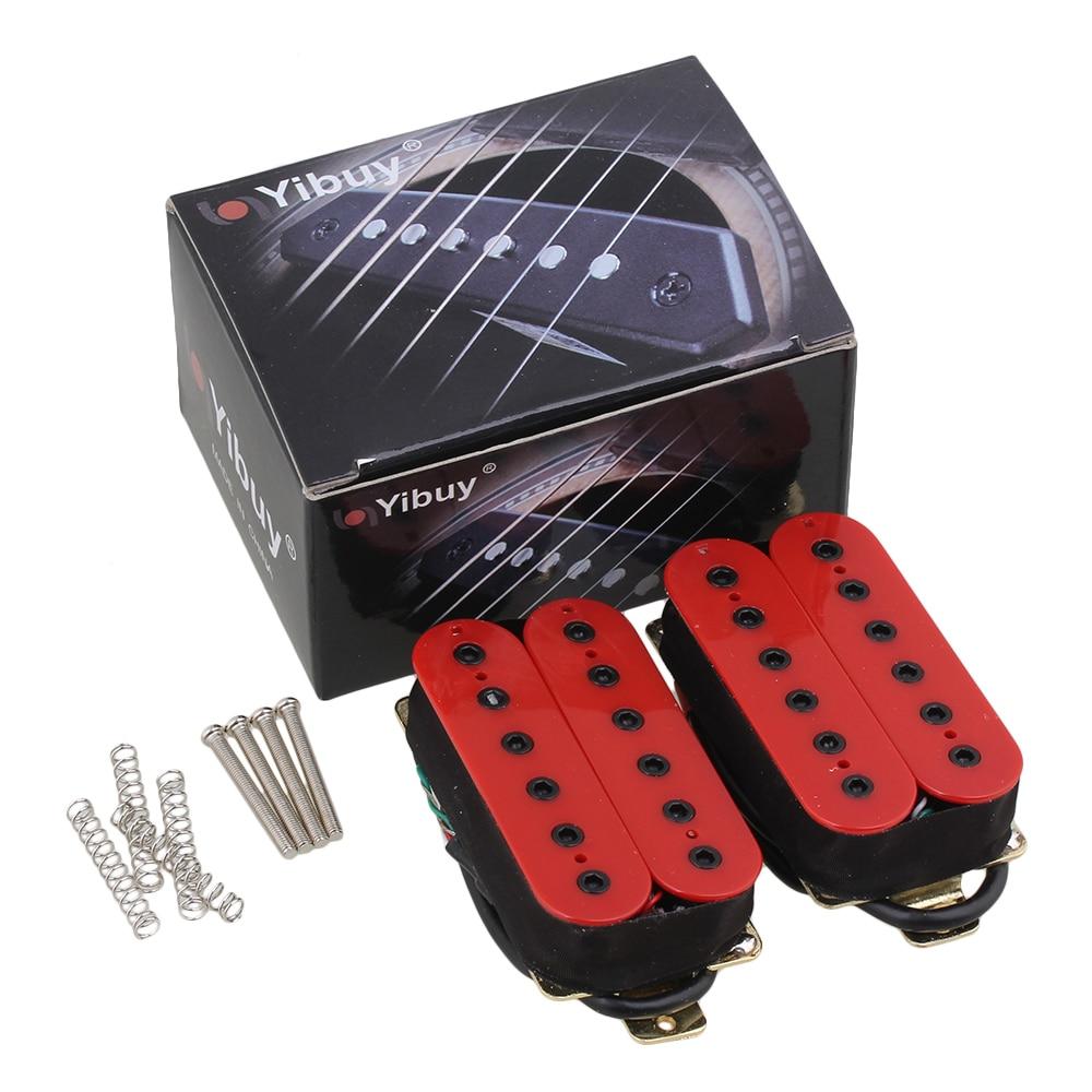 Yibuy Ceramic Magnet Red Noiseless Guitar Humbucker Bridge Neck Pickup Set