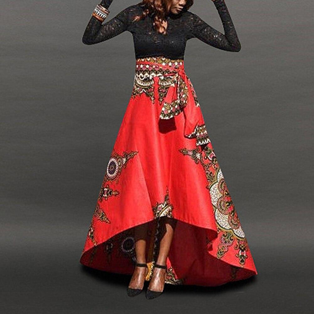 Falda con estampado africano para mujer vestido largo bohemio para fiesta Maxi falda verano vestidos tradicionales de África faldas Rojas amarillas de talla grande nuevo