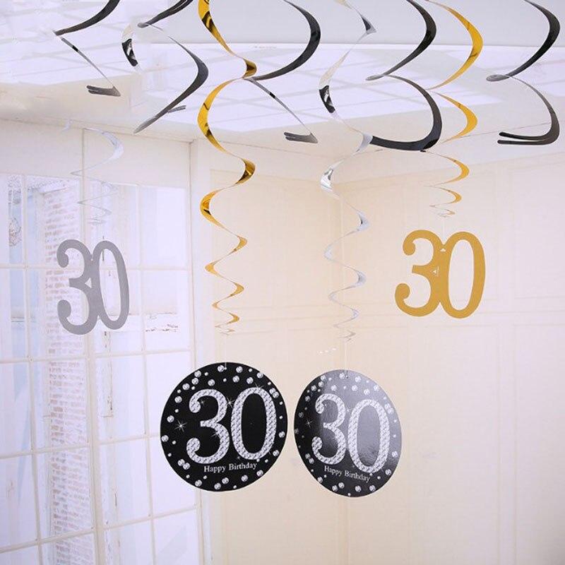 1 Set creativo 30 40 50 60 años de PVC ornamentos en espiral de aniversario de decoración de fiesta de cumpleaños pendiente colgante banners