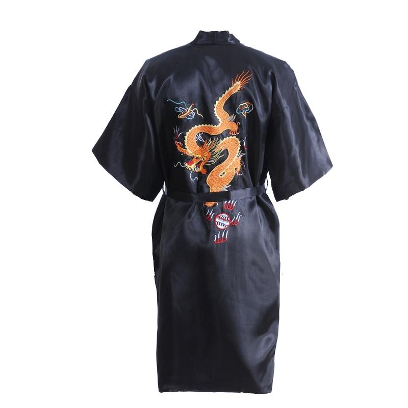 Preto homens Chineses Robe De Cetim De Seda Bordado Dragão Kimono Bath vestido Solto Unisex Roupão Tamanho M L XL XXL XXXL D0317