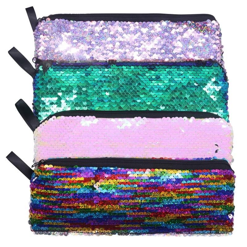 1 pcs New Sequin Pencil Case Flash Magic Sequin Pen Bag School Supplies Girl Handbags Sundries Cosmetic Bag Multi-function Bag