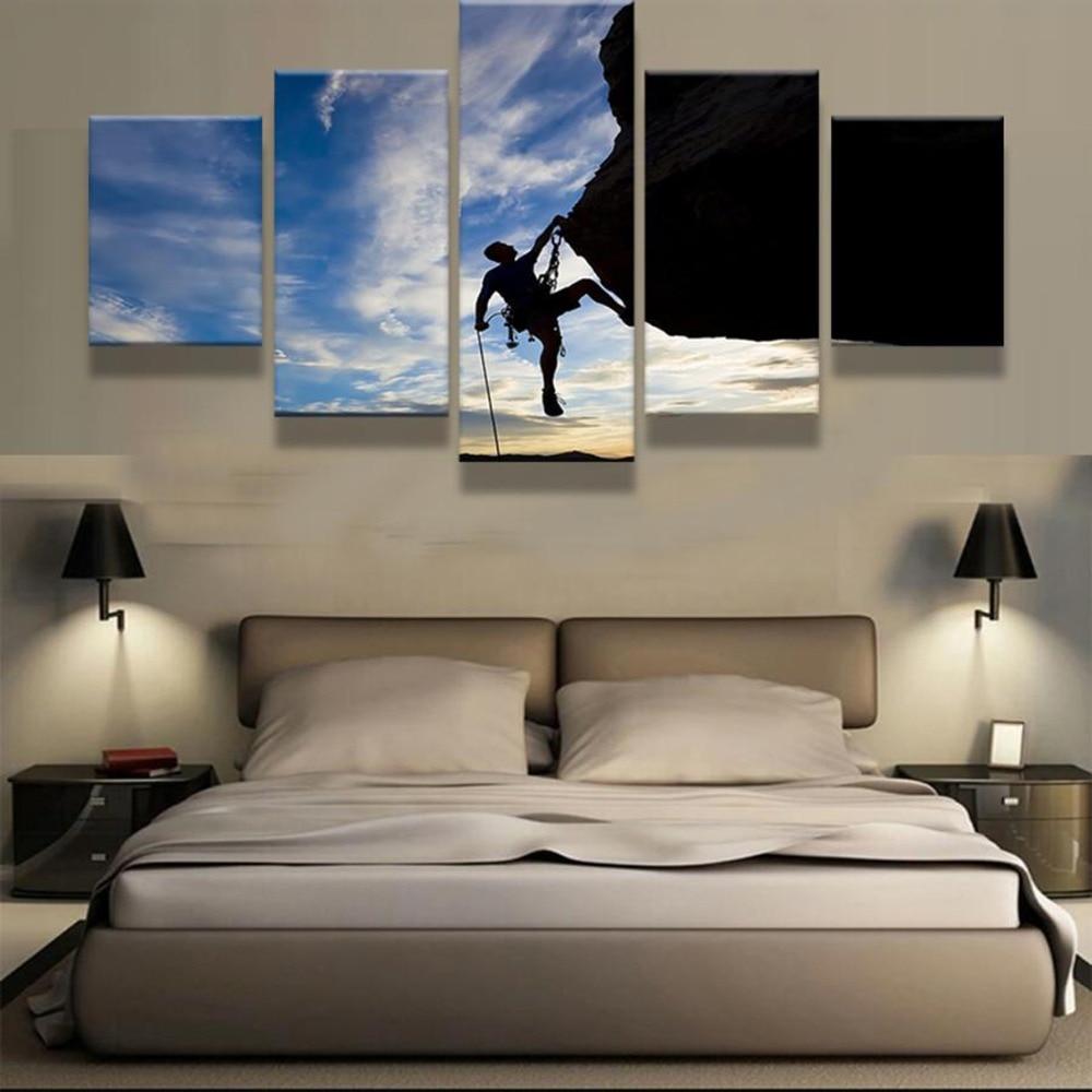 5 piezas impresión HD montaña escaladores deporte extremo Cuadros paisaje lienzo pared arte hogar Decoración Para sala de estar lienzo pintura