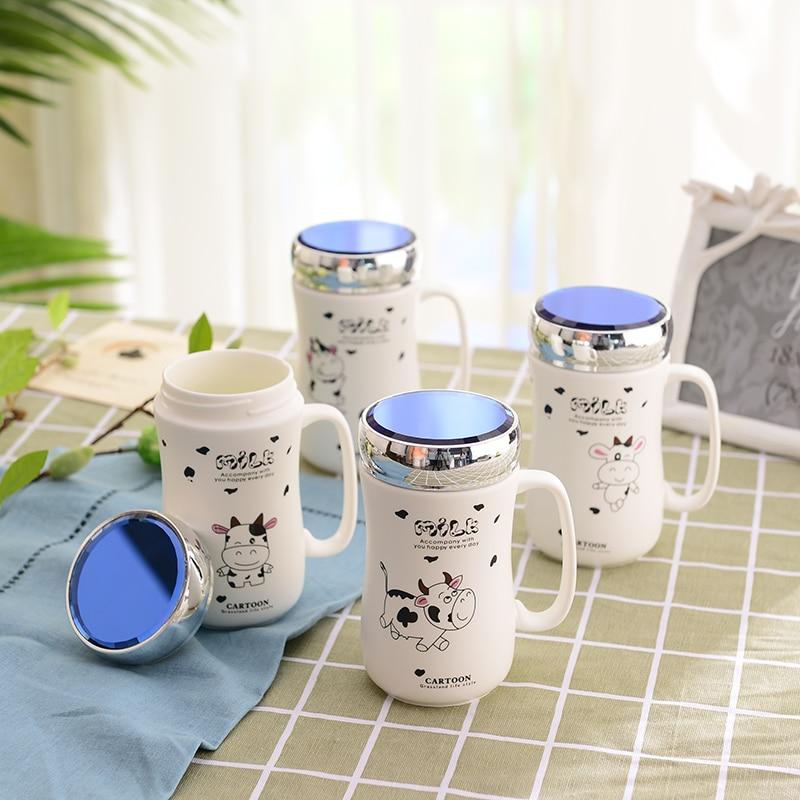 Taza de té de café de porcelana mate con dibujo de vaca de dibujos animados de 380ML con tapa de espejo regalo de creatividad única hecho a mano blanco personalizado en línea
