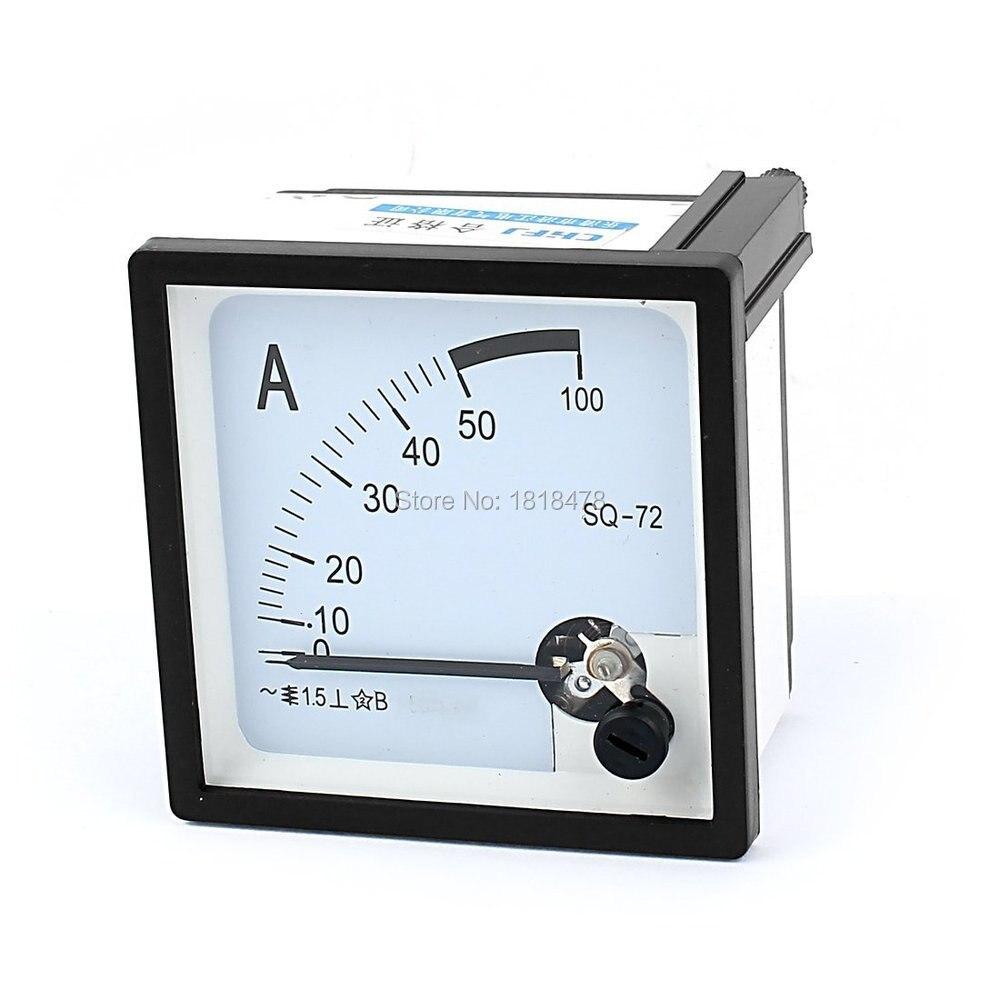 SQ72-50A Platz Panel Montage Moving Vane 0-50A AC Analog Amperemeter 72mm x 72mm