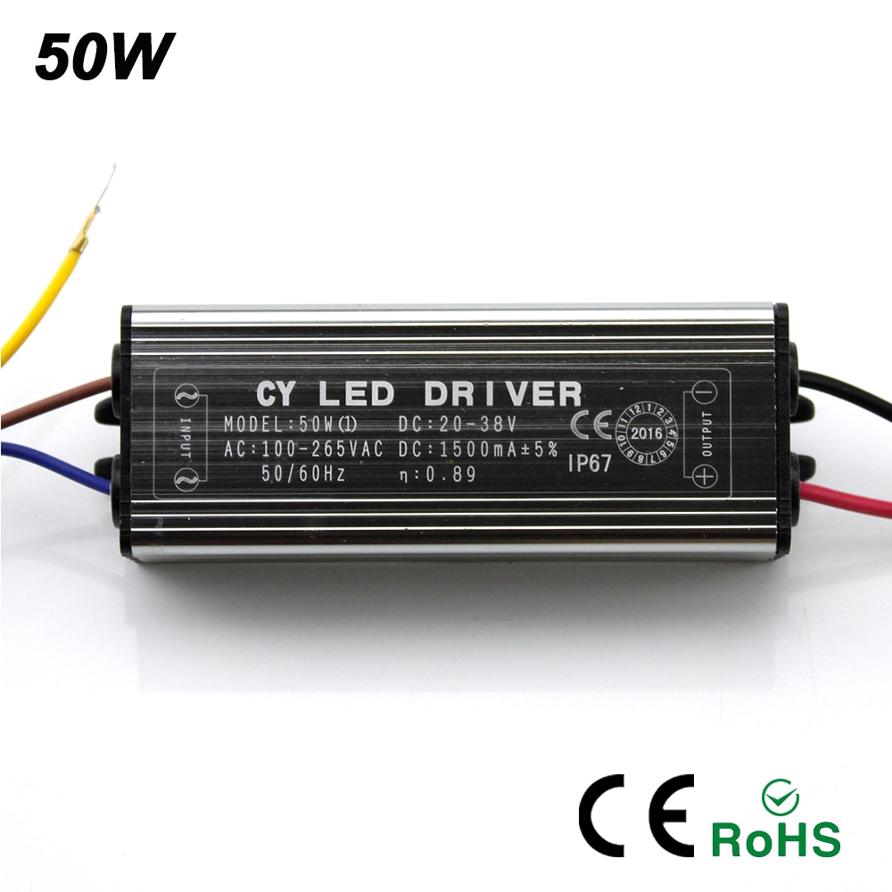 2017 New 10W 20W 30W 50W LED Driver Adapter Transformer AC100V-265V to DC20-38V Switch Power Supply IP67 For Floodlight