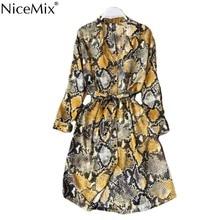 NiceMix Leopard Shirt Dress Long Sleeve Cardigan Boho Sexy Midi Korean Yellow Plus Size Snake Print Beach Summer Dress Women