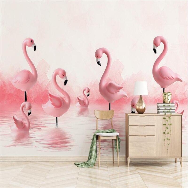 Современные обои фламинго, фон для детской комнаты, минималистичные 3d обои, Настенные обои для телевизора, 3d Настенные обои