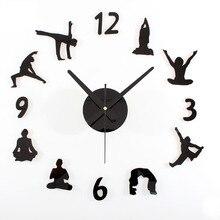 2017, популярные творческие настенные часы для йоги, сделай сам, акриловые или деревянные настенные часы, бесшумные механические настенные часы, настенные наклейки