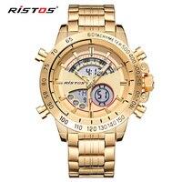 RISTOS Chronograph Multifunction Men's Sport Stainless Steel Watches Analog Fashion Wristwatch Relojes Masculino Military 9339