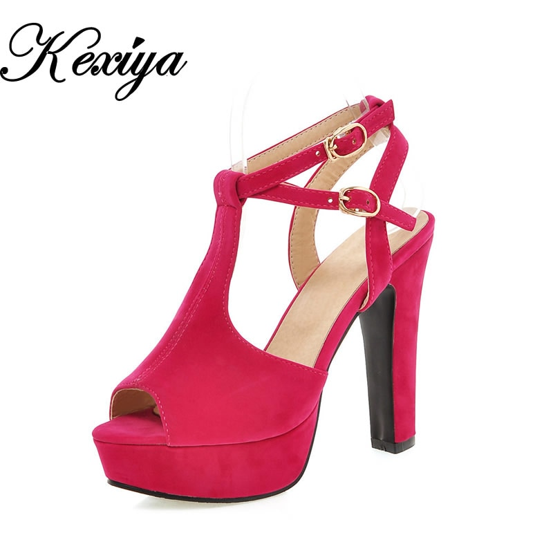 2016 nueva moda de verano de mujer, zapatos de boda, zapatos de gran tamaño 31-47 de bombas sexy plataforma peep toe Sandalias de tacón alto zapatos de mujer