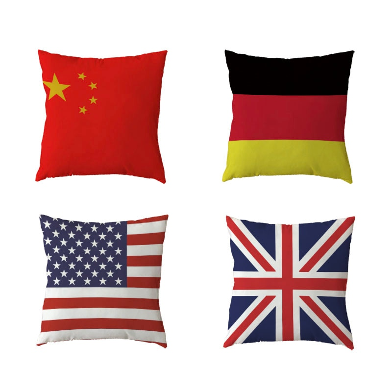 Funda de cojín personalizada 45x45cm bandera del Reino Unido China decoración de sofá de Casa Roja regalo funda de cojín de piel de melocotón de poliéster