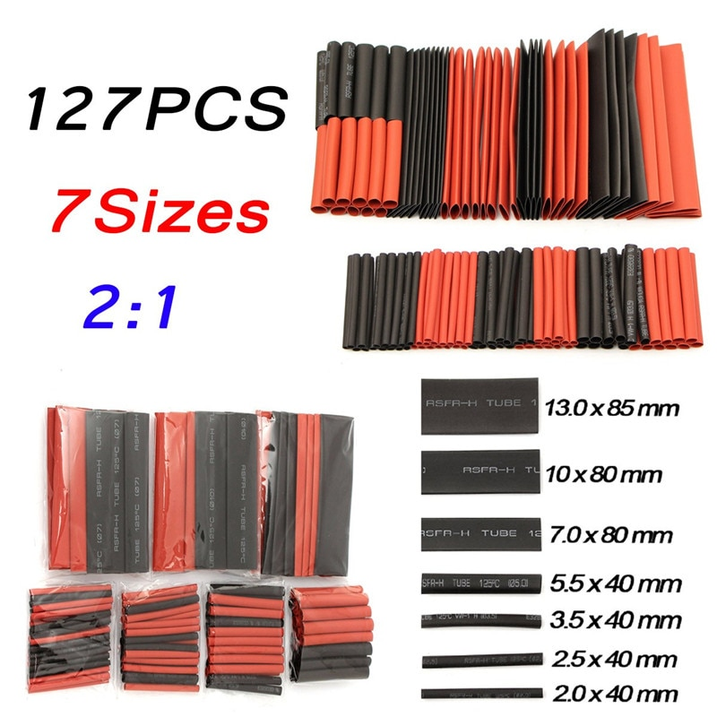 127Pcs 2:1 Polyolefin PE Heat Shrink Tube Shrinkable Sleeve Heatshrink Insulation Wire Cable Tube Wrap Cable Kit Red Black 7Size