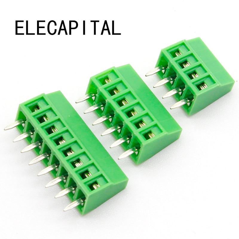 50pcs 2.54MM PCB Universal Screw Terminal Blocks Connector 2/3/4/5/6/7/8/9/10-12 Pin/Poles KF120 Straight Pin Copper