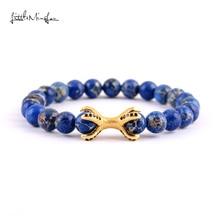 Petit MingLou hommes bleu empereur pierre perles Bracelet CZ Dragon patte pieuvre Bracelet à breloques et bracelets pour bijoux souvenirs